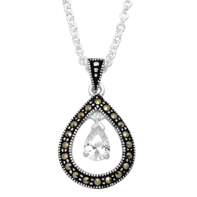 Sparkle Allure Womens 1 CT. T.W. Clear Silver Over Brass Pendant Necklace