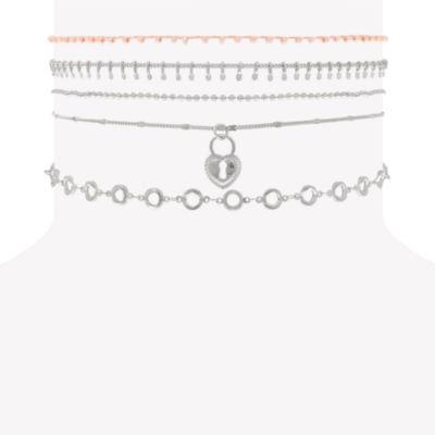 Decree Womens Clear Brass Choker Necklace
