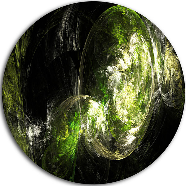 Design Art Billowing Smoke Green Abstract Circle Metal Wall Art