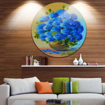 Design Art A Bouquet of Blue Flowers Floral CircleMetal Wall Art
