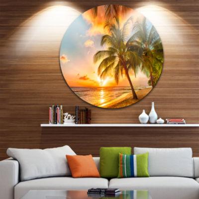 Design Art Barbados Landscape Disc Photography Circle Metal Wall Art