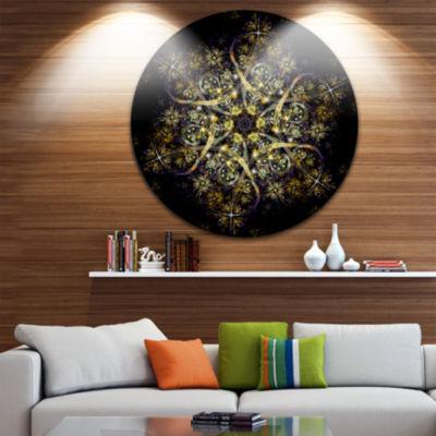 Design Art Black Yellow Fractal Flower Pattern Abstract Round Circle Metal Wall Decor Panel