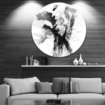 Design Art Black Paint Stain Disc Abstract CircleMetal Wall Art