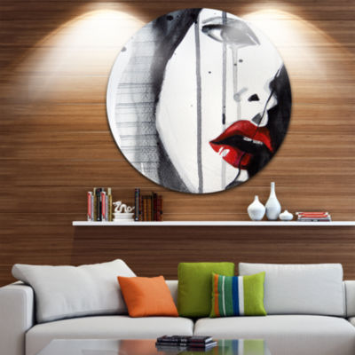 Design Art Black Illustrated Girl Close up Disc Abstract Portrait Circle Metal Wall Art