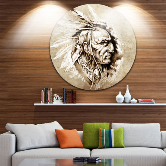 Design Art American Indian Illustration Portrait Circle Metal Wall Art