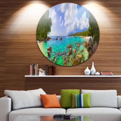 Design Art Beach Anse Lazio at Seychelles Disc Landscape Photography Circle Metal Wall Art