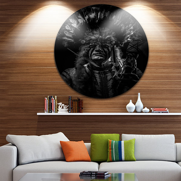Design Art American Indian Tribal Chief Abstract Portrait Circle Metal Wall Art