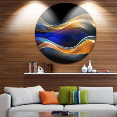 Design Art 3D Gold Blue Wave Design Abstract Circle Metal Wall Art