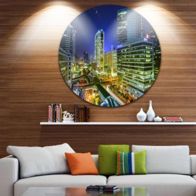 Design Art Bangkok City Night View Cityscape DiscPhotography Circle Metal Wall Art