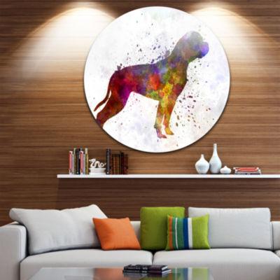 Design Art American Bulldog Disc Animal Circle Metal Wall Art