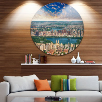 Design Art Aerial View of Central Park Disc Landscape Photography Circle Metal Wall Art