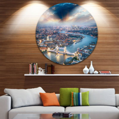 Design Art Aerial View of London at Dusk CityscapePhoto Circle Metal Wall Art