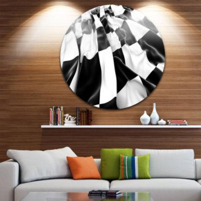 Design Art 3D Checkered Flag Abstract Circle MetalWall Art