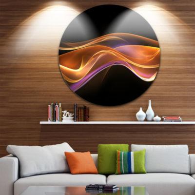 Design Art 3D Gold Pink Wave Design Abstract Circle Metal Wall Art