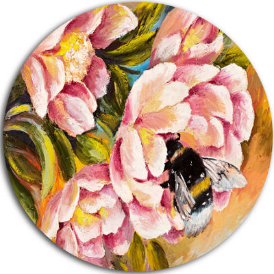Design Art Bee Sitting on Flower Floral Metal Circle Wall Art