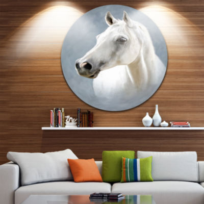Design Art A White Horse Alone Animal Circle MetalWall Art