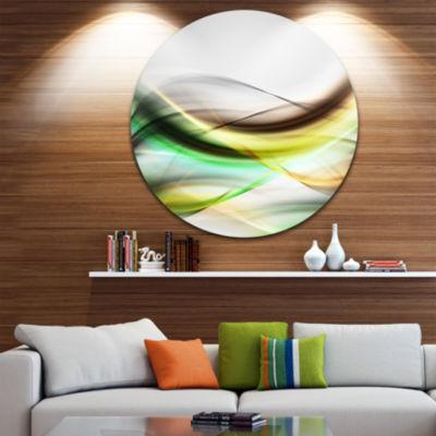 Design Art Abstract Green Yellow Waves Abstract Circle Metal Wall Art