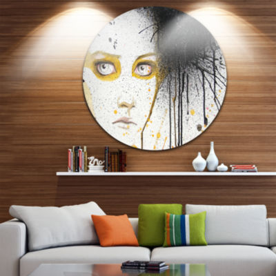 Design Art Beautiful Girl with Yellow Eyes Disc Abstract Portrait Circle Metal Wall Art