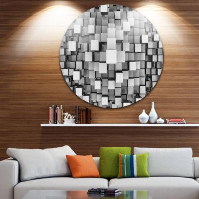 Design Art Black and Grey Cubes Disc ContemporaryCircle Metal Wall Art