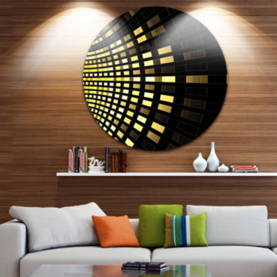 Design Art Abstract Fractal Gold Square Pixel Abstract Art on Round Circle Metal Wall Decor Panel