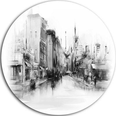 Design Art Black and White City Disc Large Cityscape Circle Metal Wall Arts