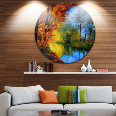Design Art Autumn Reflecting in River Landscape Circle Metal Wall Art