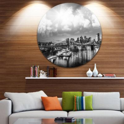 Design Art Amazing Night in New York City Disc Cityscape Photo Circle Metal Wall Art