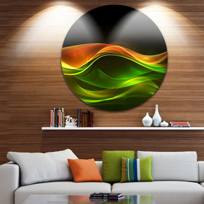 Design Art Abstract Green Yellow in Black AbstractCircle Metal Wall Art