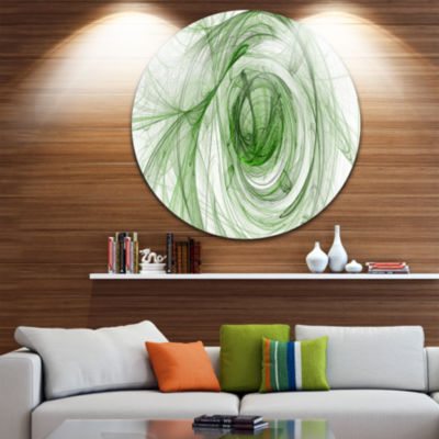 Design Art Ball of Yarn Green Spiral Abstract Circle Metal Wall Art