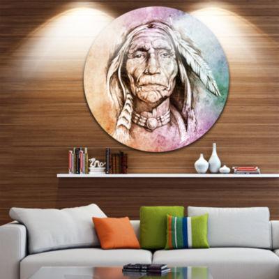 Design Art American Indian Head Portrait Circle Metal Wall Art