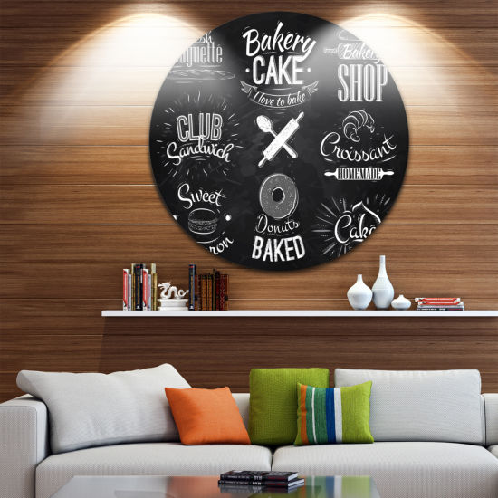 Design Art Bakery Characters Disc Large Contemporary Circle Metal Wall Arts