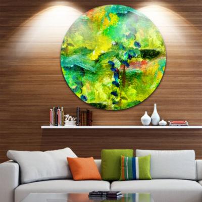 Design Art Africa Green Texture Abstract Circle Metal Wall Art