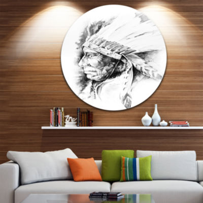 Design Art American Indian Head Tattoo Black and White Large Contemporary Circle Metal Wall Arts