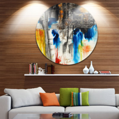 Design Art Black Blue and Yellow Pattern Disc Contemporary Circle Metal Wall Art