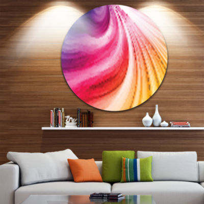 Design Art Abstract Colorful Waves Disc Contemporary Circle Metal Wall Art