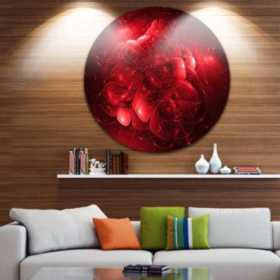Design Art Alien Mystical Flower Red Floral CircleMetal Wall Art