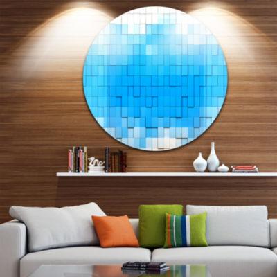 Design Art 3D Blue Cubes Disc Contemporary CircleMetal Wall Art
