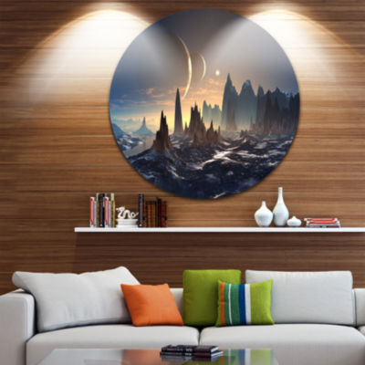 Design Art Alien Planet with Mountains Disc Contemporary Circle Metal Wall Art