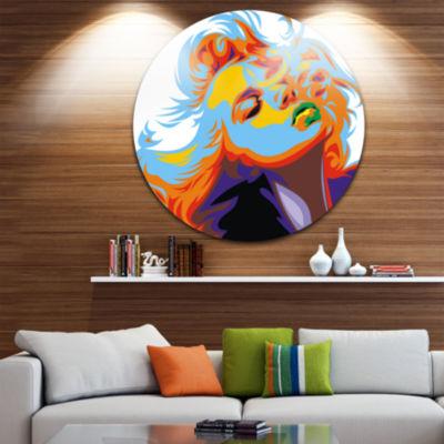 Design Art Blonde Girl Art Vector Art Circle MetalWall Art