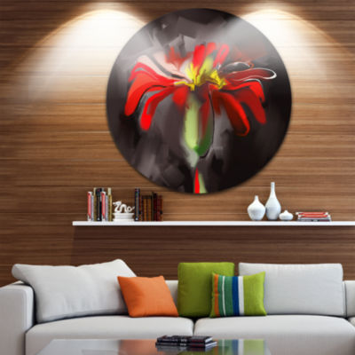 Design Art Abstract Red Flower Disc Floral CircleMetal Wall Art