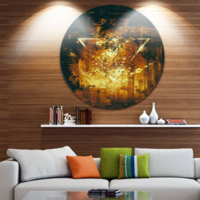 Design Art Abstract Golden Elements Disc AbstractCircle Metal Wall Art