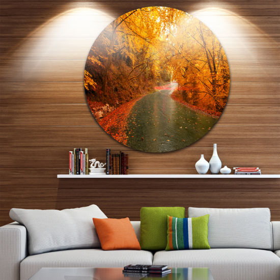 Design Art Autumn Light Trails on Road Landscape Photography Circle Circle Metal Wall Art