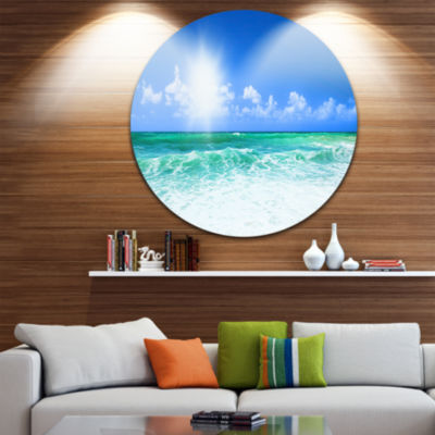 Design Art Beautiful Blue Beach Disc Seascape Photography Circle Metal Wall Art