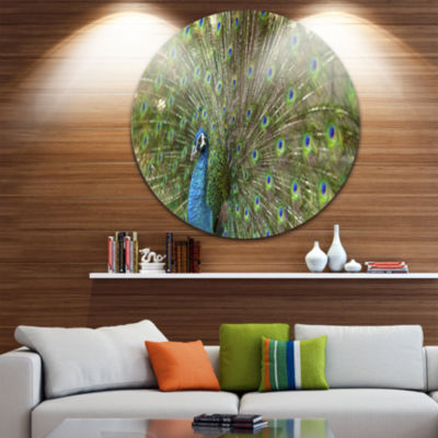 Design Art Beautiful Peacock with Feathers Disc Animal Circle Metal Wall Art