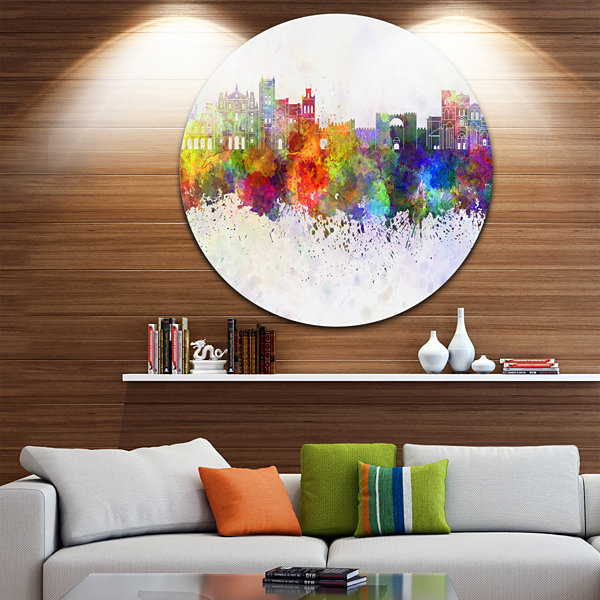 Design Art Avila Skyline Disc Cityscape Metal Artwork Print