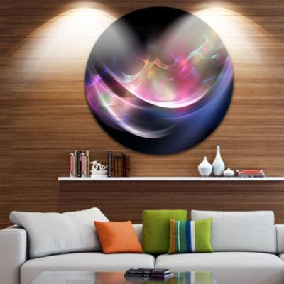 Design Art 3D Pink Blue Glowing Light Abstract Circle Metal Wall Art