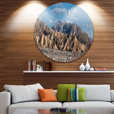 Design Art Beautiful Hills in Death Valley Abstract Round Circle Metal Wall Decor