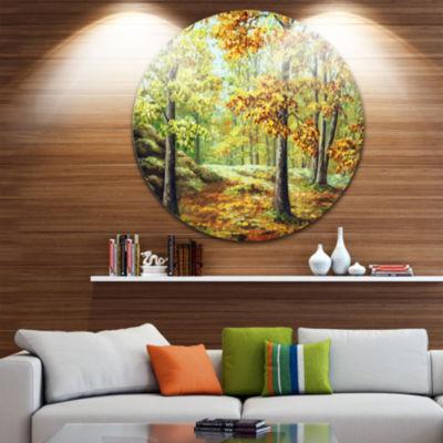 Design Art Autumn Wood Landscape Metal Circle WallArt