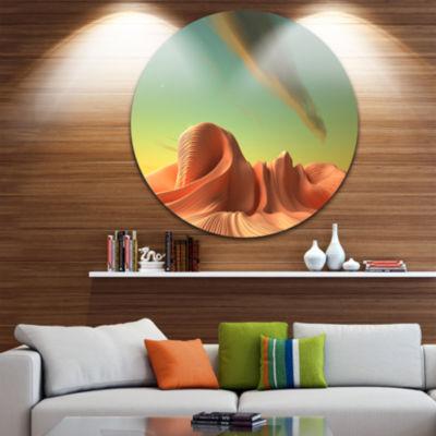 Design Art 3D Alien World Surreal Fantasy Disc Contemporary Artwork on Circle Metal Wall Art