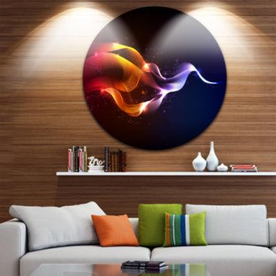 Design Art Abstract Vector Waves Disc ContemporaryCircle Metal Wall Art